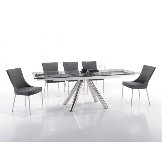 ALVINA Extension Glass Dining Table