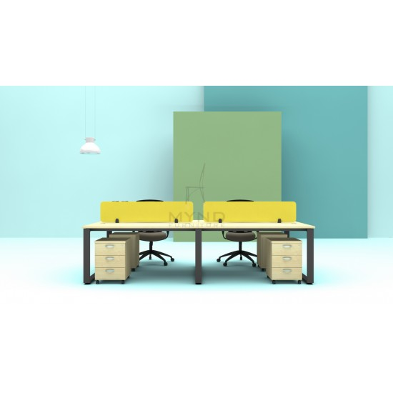 Cluster of 4 Workstation with SQ Base and Fabric Screen Divider, Mobile Pedestal 3D Set