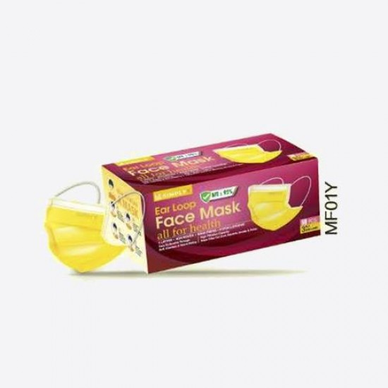 Simply K 3 Ply Adult Earloop Disposable Face Mask - MF01 Yellow