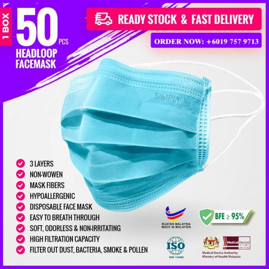 Simply K 3 Ply Adult Headloop Disposable Face Mask - MF02 Blue