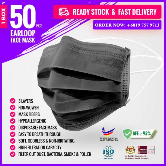 Simply K 3 Ply Adult Headloop Disposable Face Mask - MF02 Black